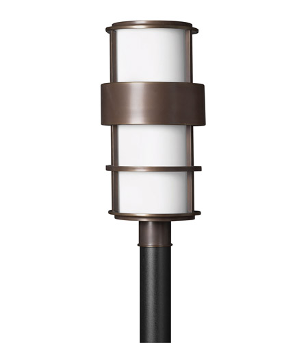 Hinkley 1901MT-GU24 Saturn 1 Light 22 inch Metro Bronze Post Lantern in Etched Opal, GU24, Etched Opal Glass photo