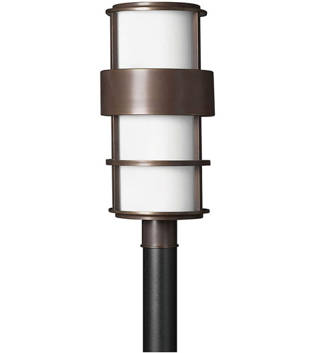 Hinkley 1901MT Saturn 1 Light 22 inch Metro Bronze Outdoor Post Mount in Etched Opal, Incandescent, Post Sold Separately photo
