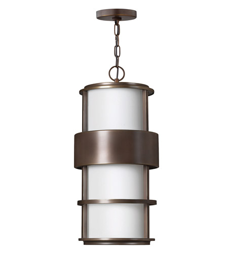 Hinkley 1902MT-GU24 Saturn 1 Light 10 inch Metro Bronze Outdoor Hanging in Etched Opal, GU24, Etched Opal Glass photo