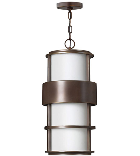 Hinkley 1902MT-LED Saturn LED 10 inch Metro Bronze Outdoor Hanging Light, Etched Opal Glass photo
