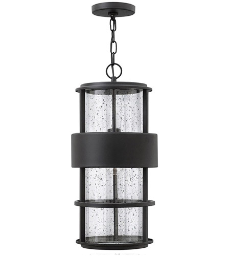 Hinkley 1902SK Saturn 1 Light 10 inch Satin Black Outdoor Hanging Light in Incandescent, Clear Seedy Glass photo