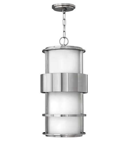 Hinkley 1902SS-GU24 Saturn 1 Light 10 inch Stainless Steel Outdoor Hanging in Etched Opal, GU24, Etched Opal Glass photo