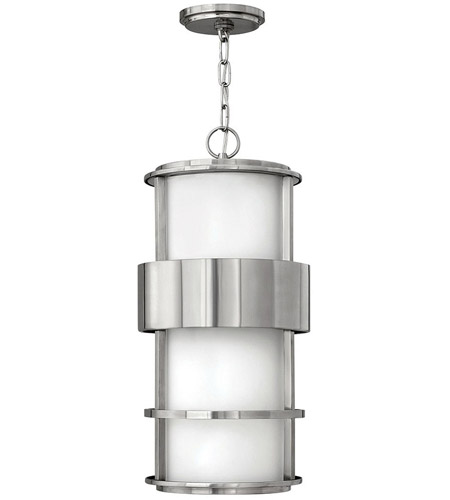 Hinkley 1902SS Saturn 1 Light 10 inch Stainless Steel Outdoor Hanging Light in Etched Opal, Incandescent photo