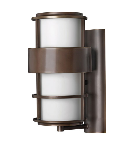 Hinkley 1904MT-GU24 Saturn 1 Light 16 inch Metro Bronze Outdoor Wall in Etched Opal, GU24, Etched Opal Glass photo