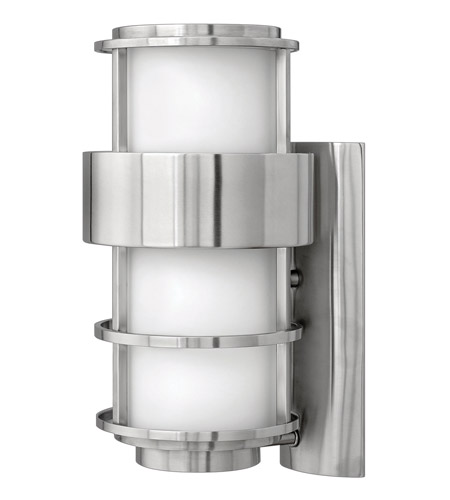Hinkley 1904SS-GU24 Saturn 1 Light 16 inch Stainless Steel Outdoor Wall in Etched Opal, GU24, Etched Opal Glass photo