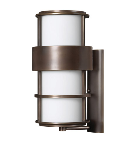 Hinkley 1905MT-GU24 Saturn 1 Light 20 inch Metro Bronze Outdoor Wall in Etched Opal, GU24, Etched Opal Glass photo