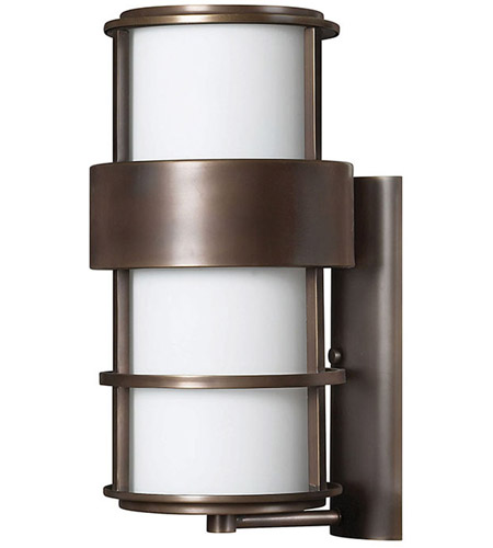 Hinkley 1905MT Saturn 1 Light 20 inch Metro Bronze Outdoor Wall Lantern in Etched Opal, Incandescent photo