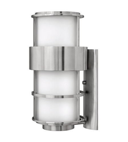 Hinkley 1905SS-GU24 Saturn 1 Light 20 inch Stainless Steel Outdoor Wall in Etched Opal, GU24, Etched Opal Glass photo