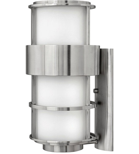 Hinkley 1905SS Saturn 1 Light 20 inch Stainless Steel Outdoor Wall Lantern in Etched Opal, Incandescent photo