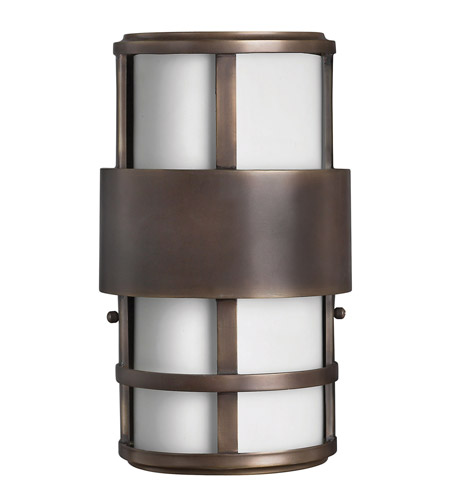 Hinkley 1908MT-GU24 Saturn 1 Light 13 inch Metro Bronze Outdoor Wall in Etched Opal, GU24, Etched Opal Glass photo