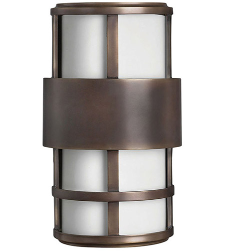 Hinkley 1908MT Saturn 2 Light 13 inch Metro Bronze Outdoor Wall Lantern in Etched Opal, Incandescent photo