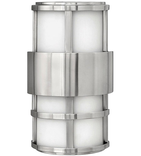 Hinkley 1908SS Saturn 2 Light 13 inch Stainless Steel Outdoor Wall Lantern in Etched Opal, Incandescent photo