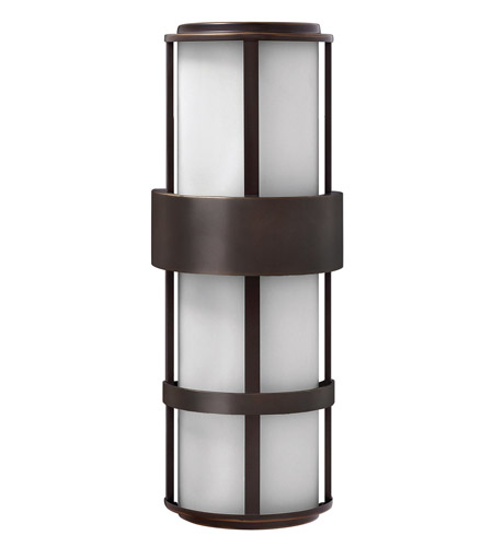 Hinkley 1909MT-GU24 Saturn 1 Light 21 inch Metro Bronze Outdoor Wall in Etched Opal, GU24, Etched Opal Glass photo