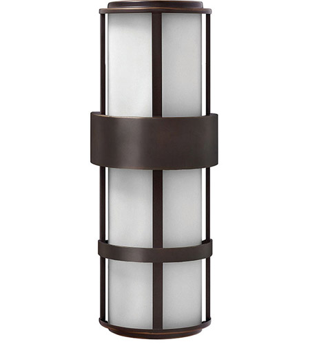 Hinkley 1909MT Saturn 2 Light 21 inch Metro Bronze Outdoor Wall Mount in Etched Opal, Incandescent photo