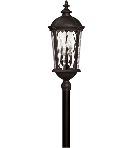 Hinkley 1921BK Windsor 6 Light 35 inch Black Outdoor Post Mount in Clear Water, Incandescent, Post Sold Separately, Clear Water Glass photo