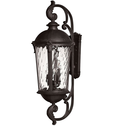 Hinkley 1929BK Windsor 6 Light 42 inch Black Outdoor Wall Mount in Clear Water, Incandescent, Clear Water Glass photo
