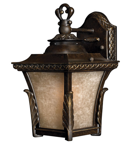 Hinkley 1930RB-GU24 Brynmar 1 Light 12 inch Regency Bronze Outdoor Wall in GU24, Amber Linen Glass photo