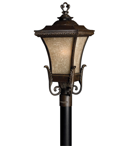 Hinkley 1931RB-GU24 Brynmar 1 Light 27 inch Regency Bronze Post Lantern in GU24, Amber Linen Glass photo