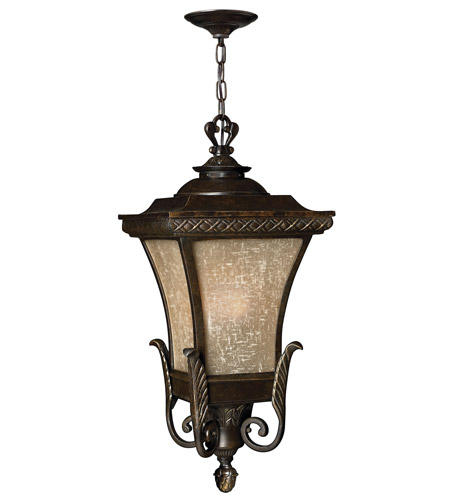 Hinkley 1932RB-GU24 Brynmar 1 Light 12 inch Regency Bronze Outdoor Hanging in GU24, Amber Linen Glass photo