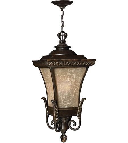 Hinkley 1932RB-LED Brynmar 1 Light 12 inch Regency Bronze Outdoor Hanging in LED, Amber Linen Glass photo