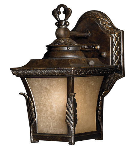 Hinkley 1936RB-GU24 Brynmar 1 Light 9 inch Regency Bronze Outdoor Wall in GU24, Amber Linen Glass photo
