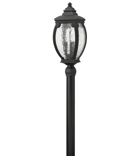 Hinkley 1941MB Forum 3 Light 24 inch Museum Black Post Lantern, Seedy Water Glass, Post Sold Separately photo