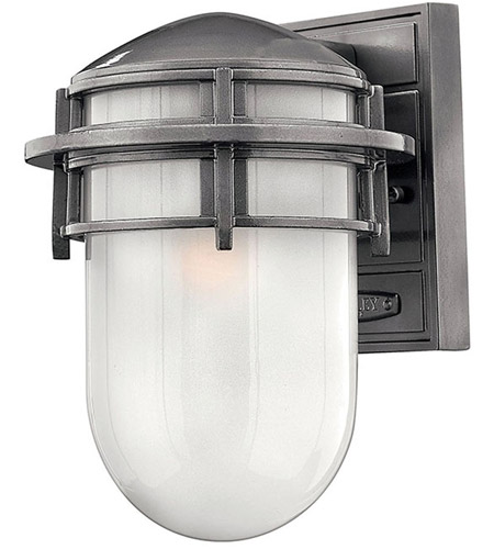 Hinkley 1950HE Reef 1 Light 11 inch Hematite Outdoor Wall Lantern in Translucent Sandblasted, Incandescent photo