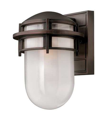 Hinkley 1950VZ-GU24 Reef 1 Light 11 inch Victorian Bronze Outdoor Wall in Translucent Sandblasted, GU24, Inside Etched Glass photo