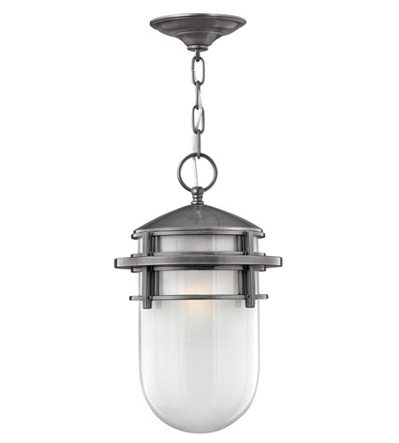 Hinkley 1952HE-GU24 Reef 1 Light 9 inch Hematite Outdoor Hanging in Translucent Sandblasted, GU24, Inside Etched Glass photo