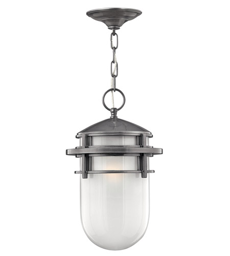 Hinkley 1952HE-LED Reef LED 9 inch Hematite Outdoor Hanging Light in Inside Etched, Inside Etched Glass photo