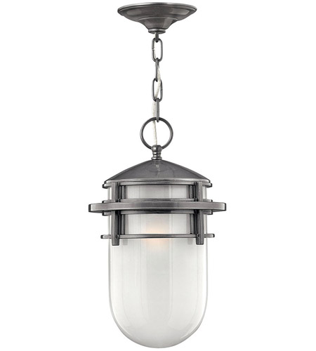 Hinkley 1952HE Reef 1 Light 9 inch Hematite Outdoor Hanging Lantern in Translucent Sandblasted, Incandescent photo