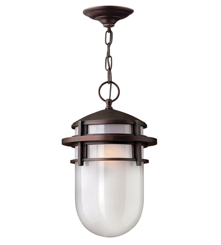 Hinkley 1952VZ-GU24 Reef 1 Light 9 inch Victorian Bronze Outdoor Hanging in Translucent Sandblasted, GU24, Inside Etched Glass photo
