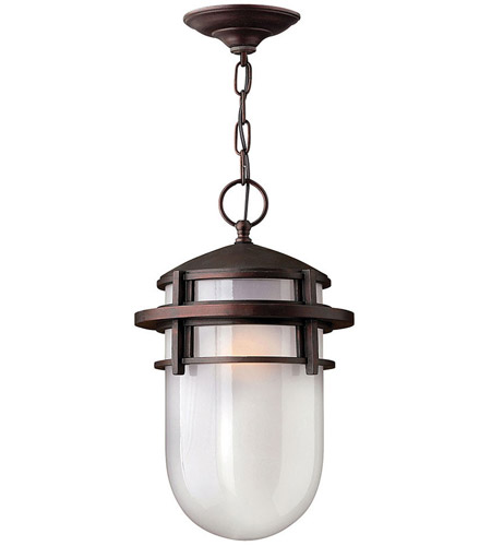 Hinkley 1952VZ Reef 1 Light 9 inch Victorian Bronze Outdoor Hanging Light in Translucent Sandblasted, Incandescent photo
