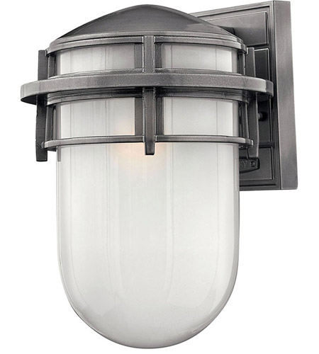Hinkley 1954HE Reef 1 Light 13 inch Hematite Outdoor Wall Lantern in Translucent Sandblasted, Incandescent photo