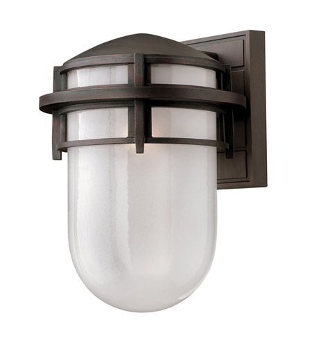 Hinkley 1954VZ-GU24 Reef 1 Light 13 inch Victorian Bronze Outdoor Wall in Translucent Sandblasted, GU24, Inside Etched Glass photo