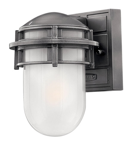 Hinkley 1956HE-GU24 Reef 1 Light 8 inch Hematite Outdoor Wall in Translucent Sandblasted, GU24, Inside Etched Glass photo