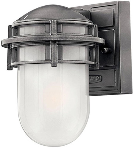 Hinkley 1956HE Reef 1 Light 8 inch Hematite Outdoor Wall Lantern in Translucent Sandblasted, Incandescent photo