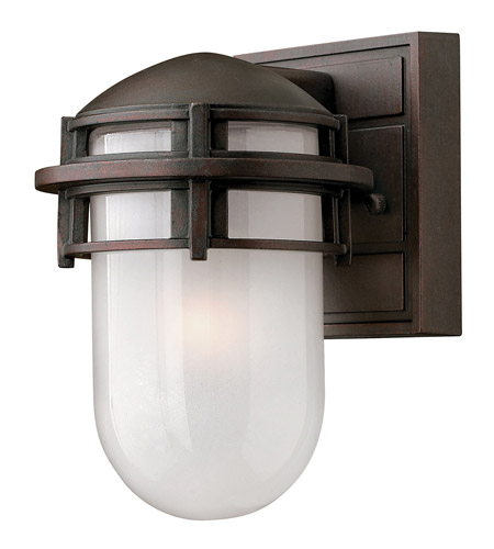 Hinkley 1956VZ-GU24 Reef 1 Light 8 inch Victorian Bronze Outdoor Wall in Translucent Sandblasted, GU24, Inside Etched Glass photo