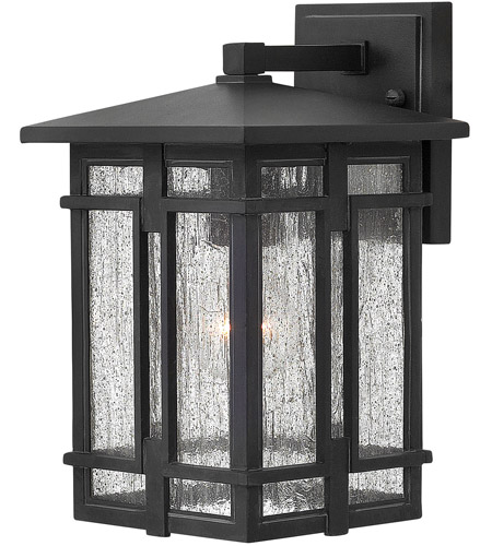 Hinkley 1960MB-LED Tucker LED 12 inch Museum Black Outdoor Wall Mount, Clear Seedy Glass photo