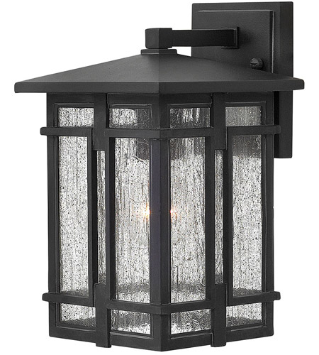 Hinkley 1960MB Tucker 1 Light 12 inch Museum Black Outdoor Wall Mount, Clear Seedy Glass photo
