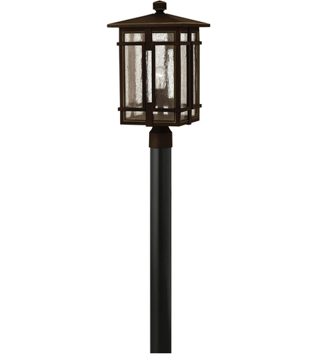 Hinkley 1961OZ-LED Tucker LED 21 inch Oil Rubbed Bronze Outdoor Post Mount, Clear Seedy Glass photo