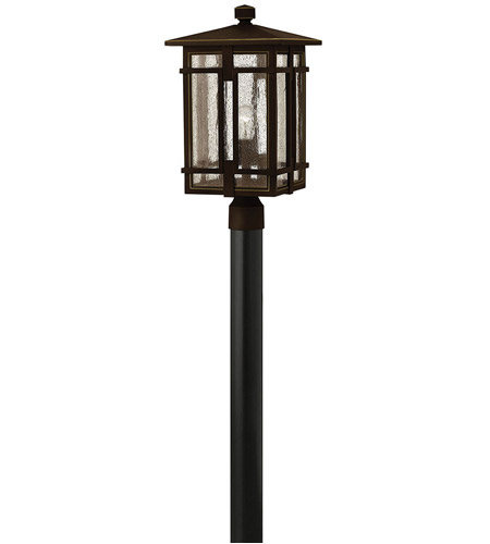 Hinkley 1961OZ Tucker 1 Light 21 inch Oil Rubbed Bronze Outdoor Post Mount, Clear Seedy Glass photo