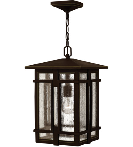 Hinkley 1962OZ-LED Tucker LED 11 inch Oil Rubbed Bronze Outdoor Hanging Light, Clear Seedy Glass photo