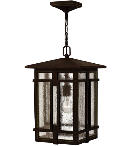 Hinkley 1962OZ Tucker 1 Light 11 inch Oil Rubbed Bronze Outdoor Hanging Light, Clear Seedy Glass photo