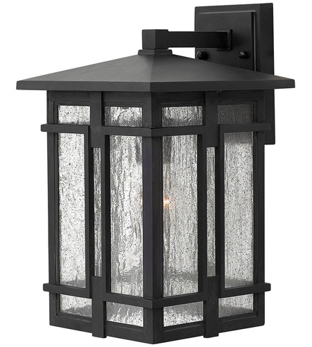 Hinkley 1964MB Tucker 1 Light 15 inch Museum Black Outdoor Wall Mount, Clear Seedy Glass photo