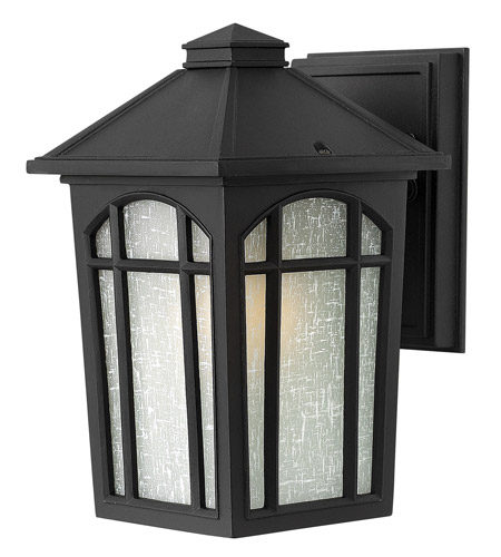 Hinkley 1980BK-LED Cedar Hill LED Black Outdoor Wall Lantern, Linen Glass photo