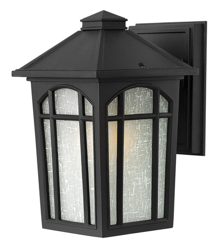 Hinkley 1980BK Cedar Hill 1 Light 9 inch Black Outdoor Wall Lantern in Incandescent, Standard, Linen Glass photo