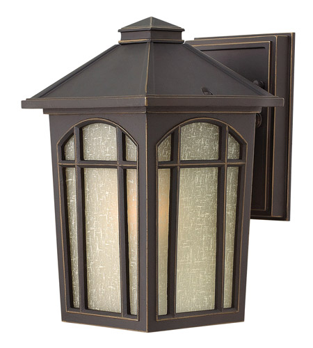 Hinkley 1980OZ-GU24 Cedar Hill 1 Light 9 inch Oil Rubbed Bronze Outdoor Wall in GU24, Linen Glass photo