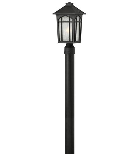 Hinkley 1981BK-GU24 Cedar Hill 1 Light 16 inch Black Post Lantern in GU24, Linen Glass photo