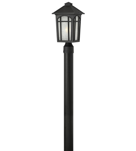 Hinkley 1981BK-LED Cedar Hill 1 Light 16 inch Black Post Lantern in LED, Linen Glass, Post Sold Separately photo